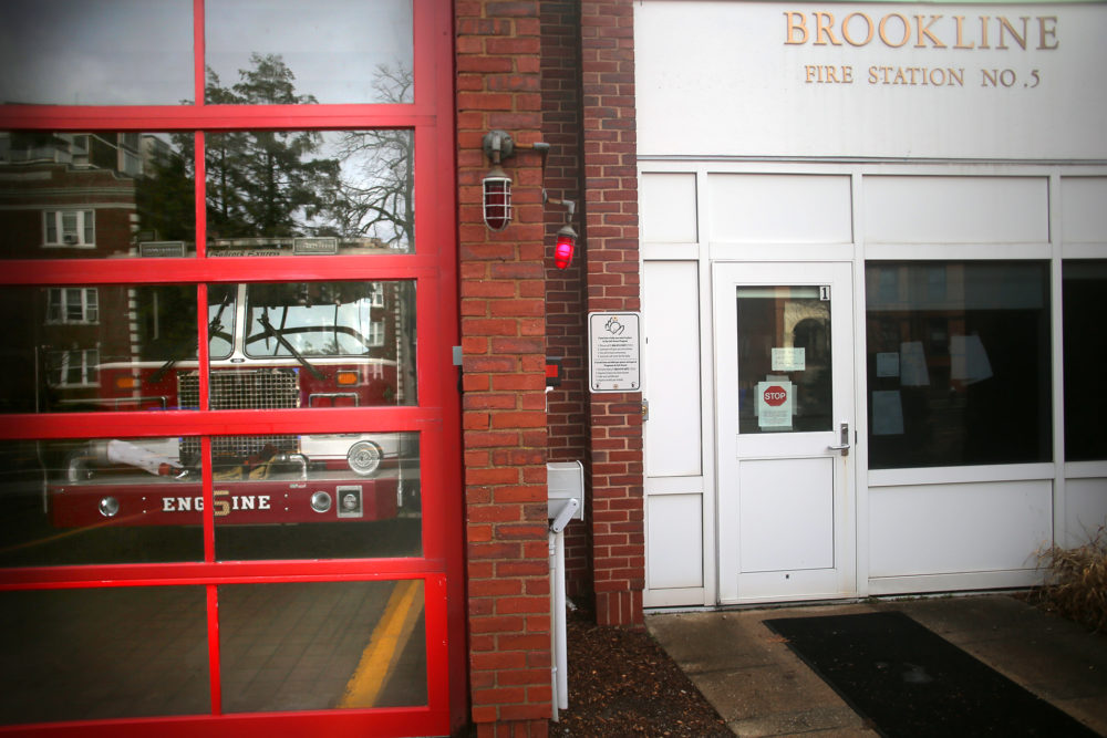 The Brookline Fire Department Station 5 on Babcock Street in Coolidge Corner in Brookline, pictured on March 24, 2020. (Lane Turner/The Boston Globe via Getty Images)