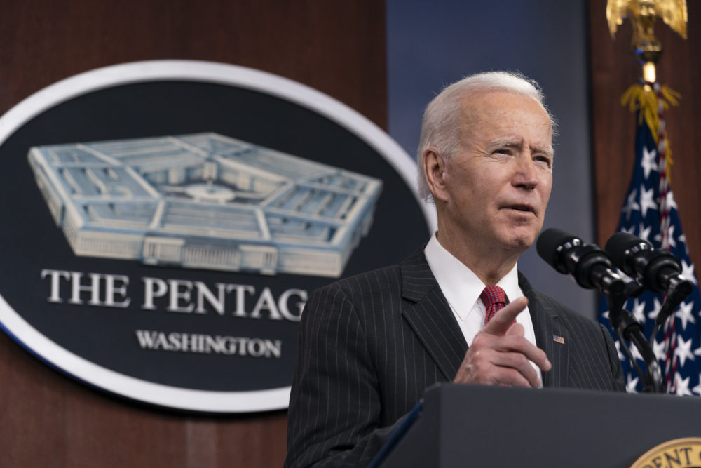 President Joe Biden speaks at the Pentagon February 10, 2021 in Washington, DC. Biden and Harris made their first trip to the Pentagon to deliver remarks and meet the nation's first Black Secretary of Defense Lloyd Austin. (Photo by Alex Brandon - Pool/Getty Images)