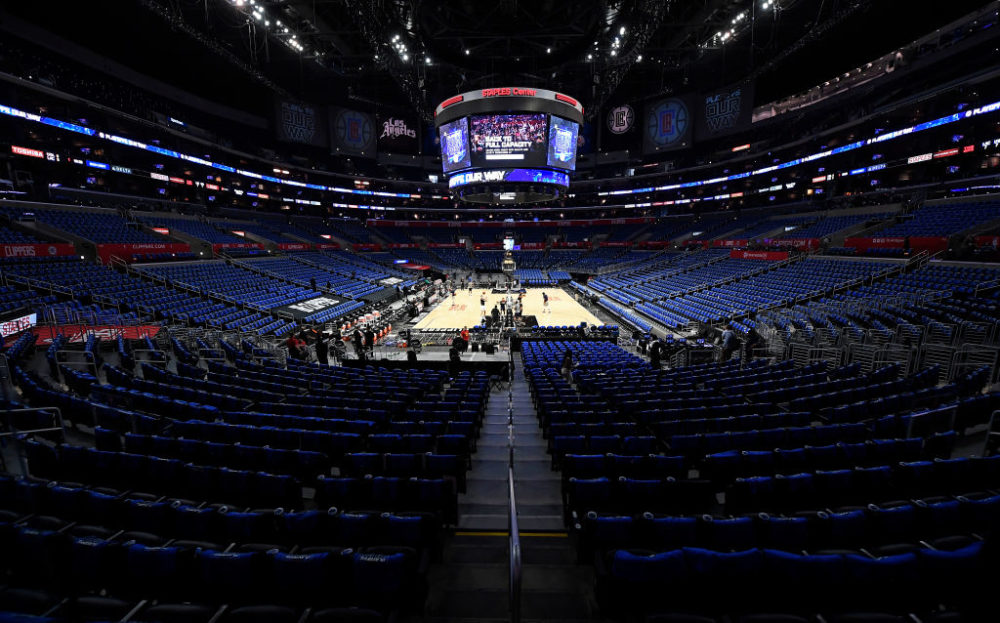 Blue shirts cover the stadium seats as the Los Angeles Clippers had their first full capacity game since the start of the pandemic for Game Six of the Western Conference second-round playoff series against Utah Jazz at Staples Center on June 18, 2021 in Los Angeles, California. (Kevork Djansezian/Getty Images)