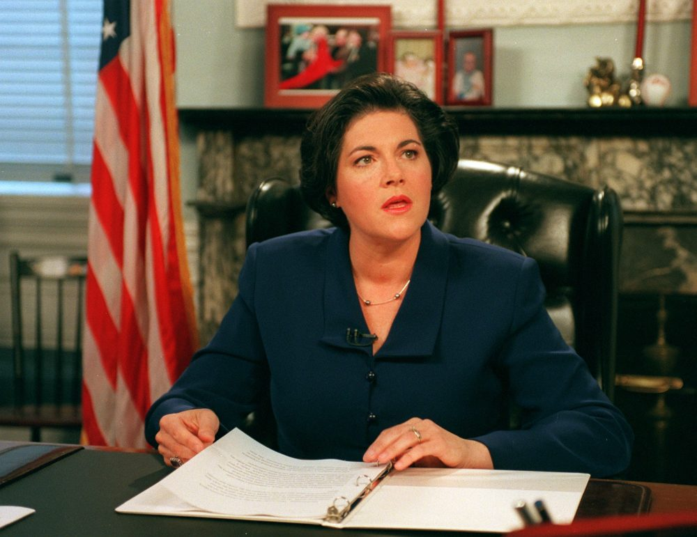 Acting Gov. Jane Swift gives a televised speech about security in Boston and Logan Airport from her office in the Mass. State House in October 2001. (Evan Richman/The Boston Globe via Getty Images)