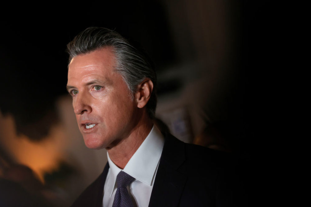 California Gov. Gavin Newsom speaks during a news conference at Manny's on Aug. 13, 2021 in San Francisco, (Justin Sullivan/Getty Images)