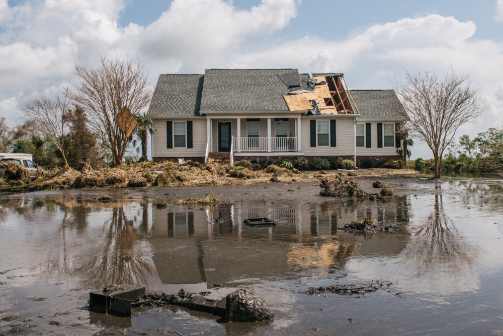 Floodwater surrounds a house on Sept. 01, 2021 in Jean Lafitte, Louisiana. (Brandon Bell/Getty Images)