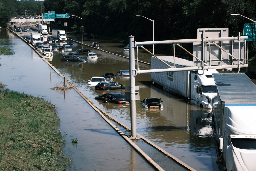 Cars sit abandoned on the flooded Major Deegan Expressway in the Bronx following a night of heavy wind and rain from the remnants of Hurricane Ida  on Sept. 02, 2021 in New York City. (Spencer Platt/Getty Images)