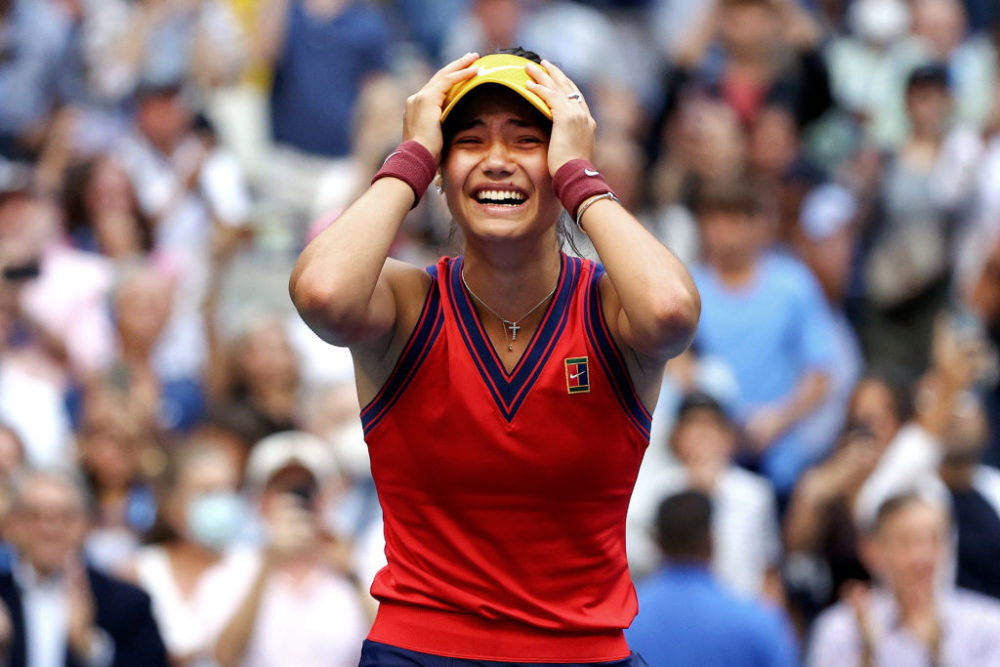 Emma Raducanu of Great Britain celebrates winning match point to defeat Leylah Annie Fernandez of Canada during the second set of their Women's Singles final match of the 2021 U.S. Open. (Elsa/Getty Images)