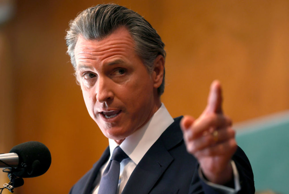 California Gov. Gavin Newsom speaks to union workers and volunteers on election day at the IBEW Local 6 union hall on September 14, 2021 in San Francisco, California. (Justin Sullivan/Getty Images)
