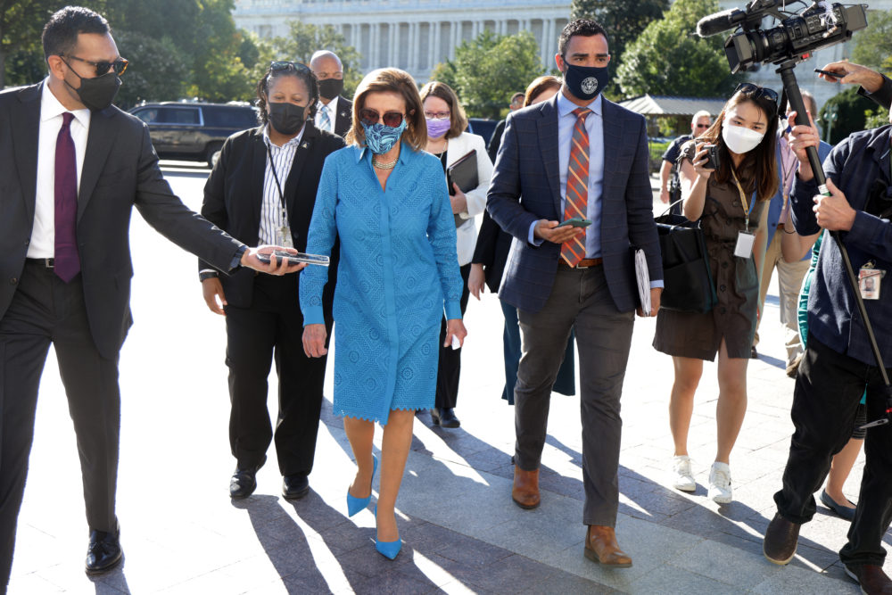 U.S. Speaker of the House Rep. Nancy Pelosi (D-CA) leaves after a news conference outside the U.S. Capitol. Alex Wong/Getty Images)