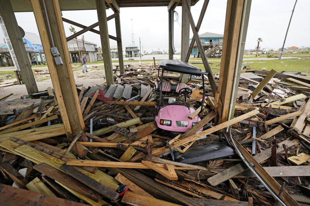 Damage from Tropical Depression Nicholas on Tuesday, Sept. 14, 2021, in San Luis Pass, Texas. (David J. Phillip/AP)