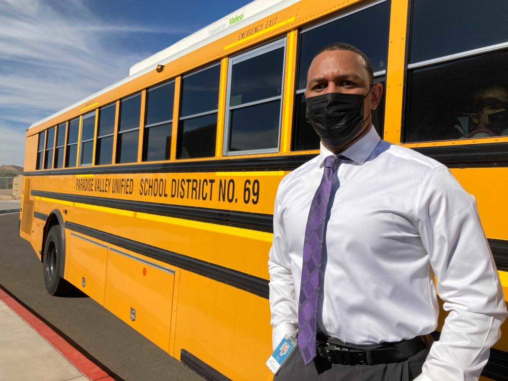 Brandon George is transportation director for the Paradise Valley Unified School District in Phoenix. PVUSD is short nearly 40 bus drivers at the start of the school year. (Peter O'Dowd/Here & Now)