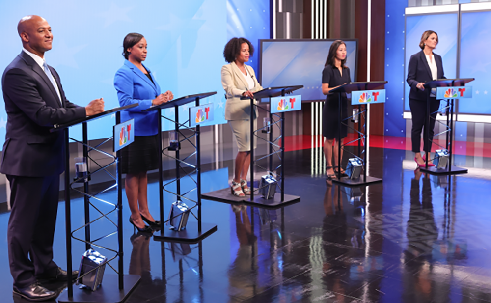 The mayoral field in debate mode on Sept. 8, 2021. From left: John Barros, Andrea Campbell, Kim Janey, Michelle Wu and Annissa Essaibi George. (Mark Garfinkle/NBC10 Boston via Dorchester Reporter)
