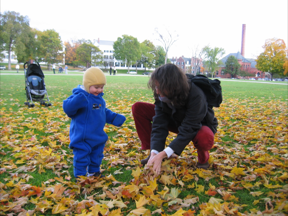 Susan D'Agostino and her daughter on the Hanover Green at Dartmouth College in 2003, where D'Agostino earned a Ph.D. in mathematics. (Courtesy Susan D'Agostino)