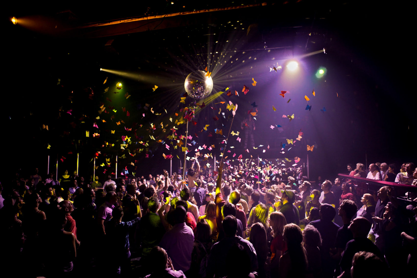 """""""The Donkey Show,"""" a disco-themed version of Shakespeare's """"A Midsummer Night's Dream,"""" ran for a decade at Oberon until 2019. (Courtesy Marcus Stern/A.R.T.)"""