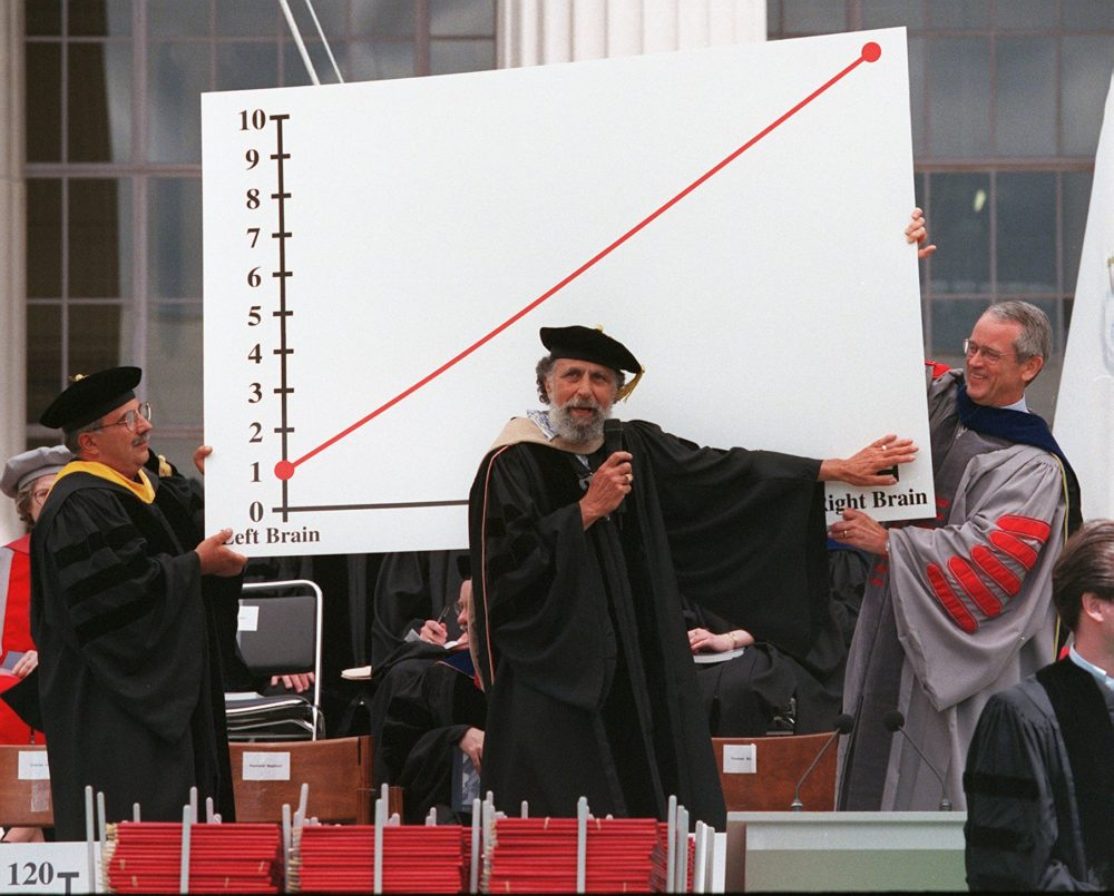 """Ray, left, and Tom Magliozzi, center, hosts of NPR's """"Car Talk,"""" get some assistance from then-MIT President Dr. Charles Vest, right, while explaining their theory of happiness during commencement at MIT on June 4, 1999. The Magliozzi brothers are alumni of the university. (Pam Berry/The Boston Globe via Getty Images)"""