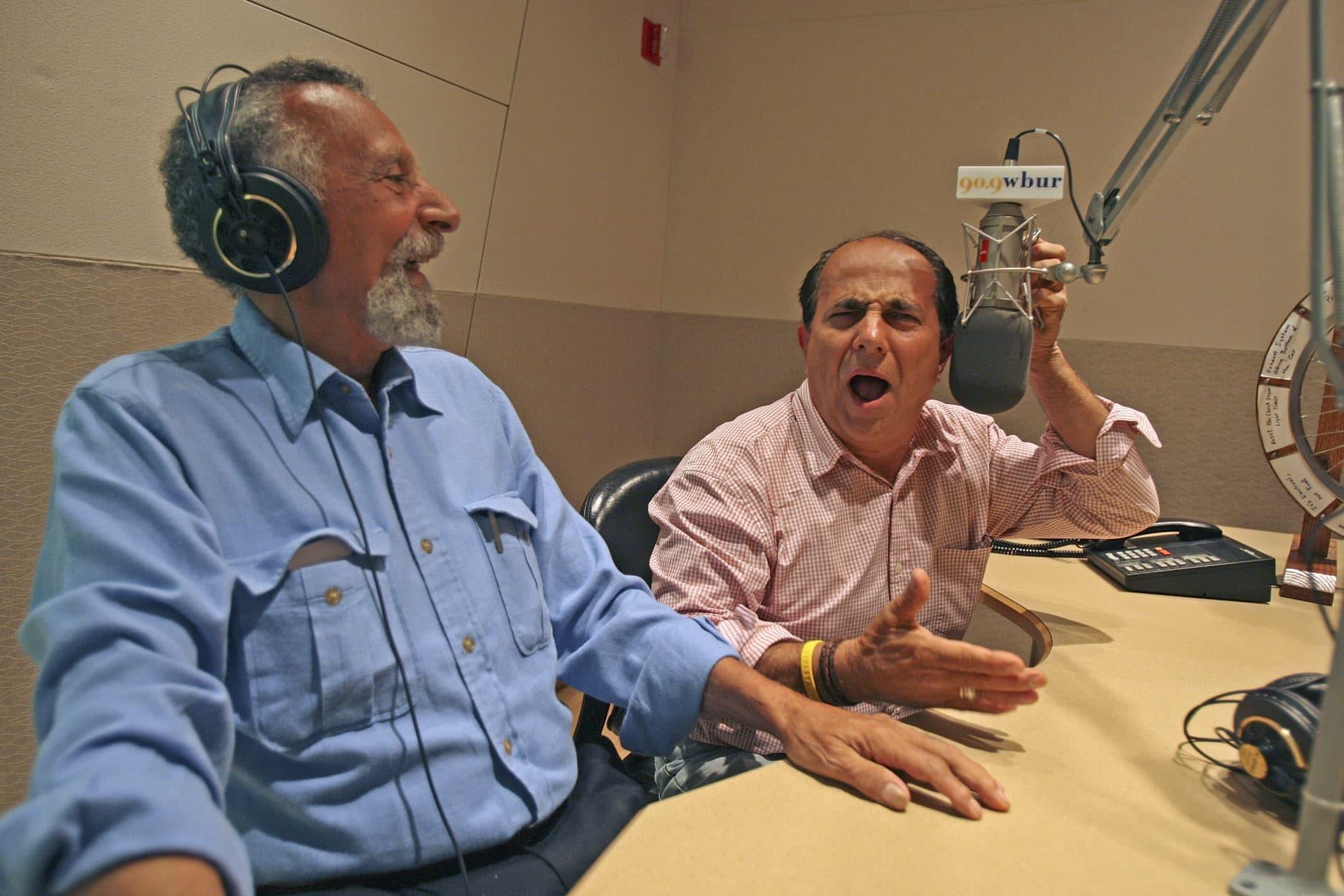 Tom and Ray Magliozzi inside WBUR's studios. (Suzanne Kreiter/The Boston Globe via Getty Images)