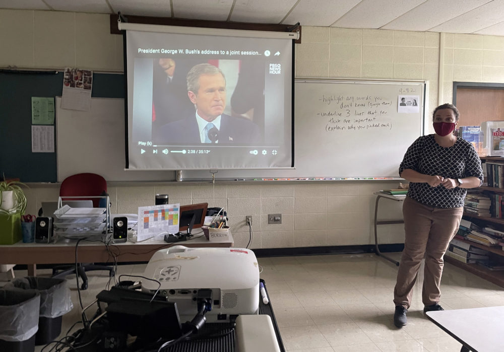 Waltham High School English teacher Katherine Waldron-Parr used President George W. Bush's Sep. 20, 2001 address to teach her class about rhetoric. (Max Larkin/WBUR)