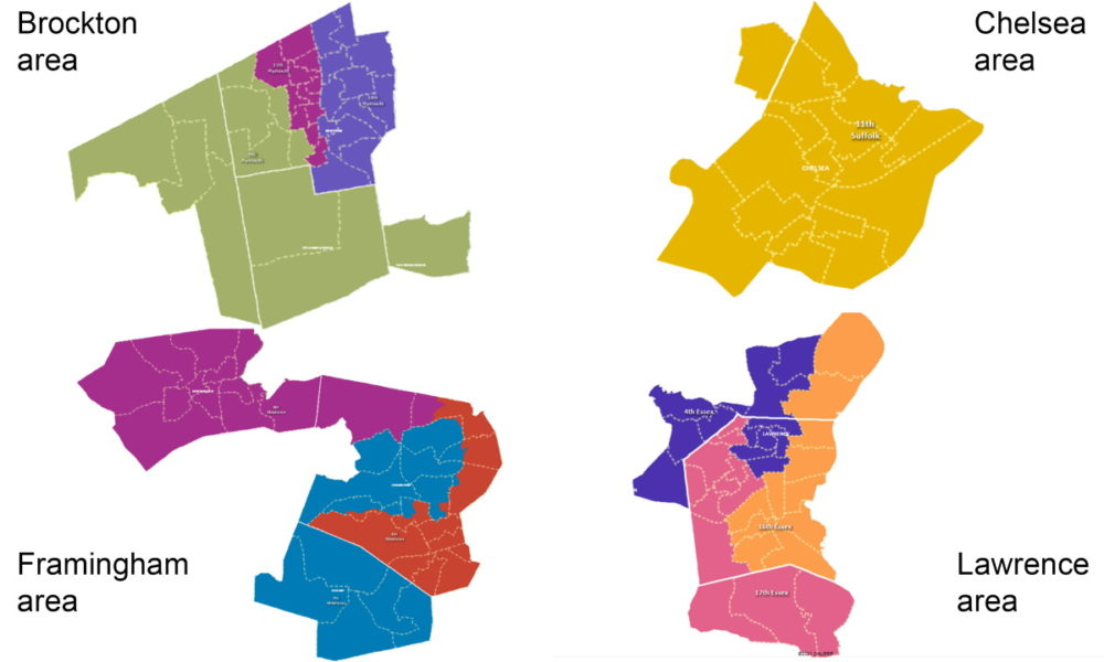 Maps illustrate proposed House redistricting changes in the Brockton, Chelsea, Framingham, and Lawrence areas where leaders have proposed four incumbent-free majority-minority districts. (Special Joint Committee on Redistricting)