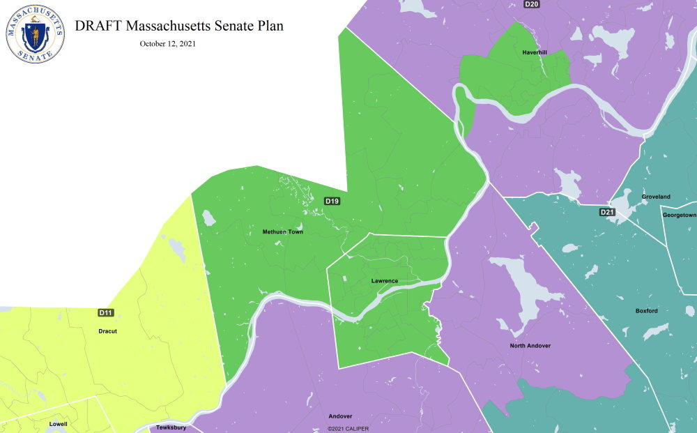 Lawrence, Methuen, and Haverhill neighborhoods with significant Hispanic or Latino populations would together form a new majority-minority state Senate district under a draft redistricting proposal Senate Democrats released Tuesday. (Courtesy office of state Sen. Will Brownsberger via State House News Service)