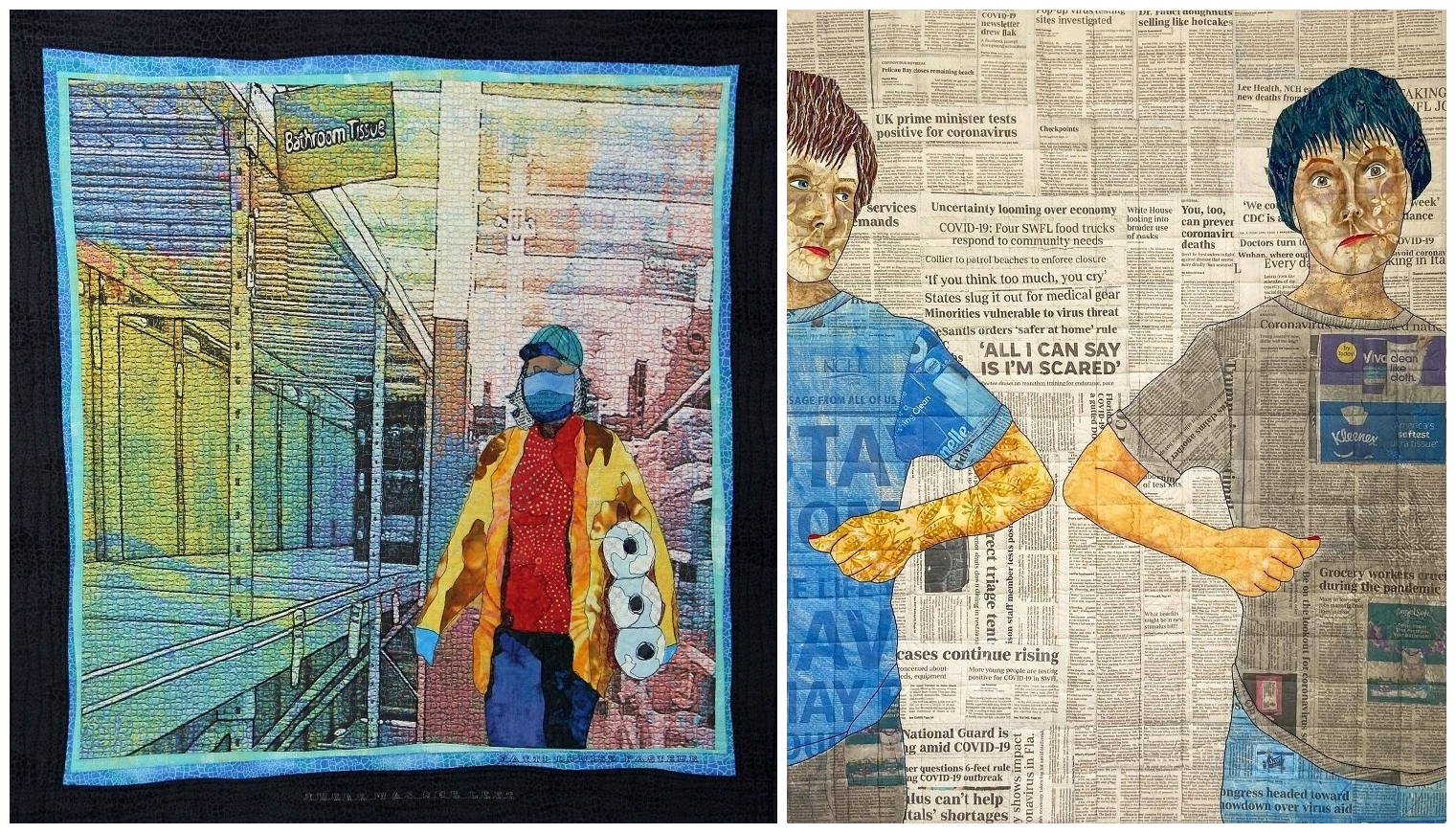 """Left to right: Patti Louise Pasteur's """"There Was One Left"""" and Patricia Kumicich's """"Social Distancing."""" (Courtesy New England Quilt Museum)"""