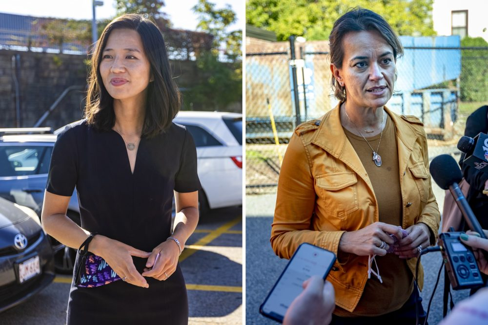Boston mayoral candidates Michelle Wu and Annissa Assaibi George on the campaign trail. The two candidates debated one-on-one for the first time Wednesday night. (Jesse Costa/WBUR)