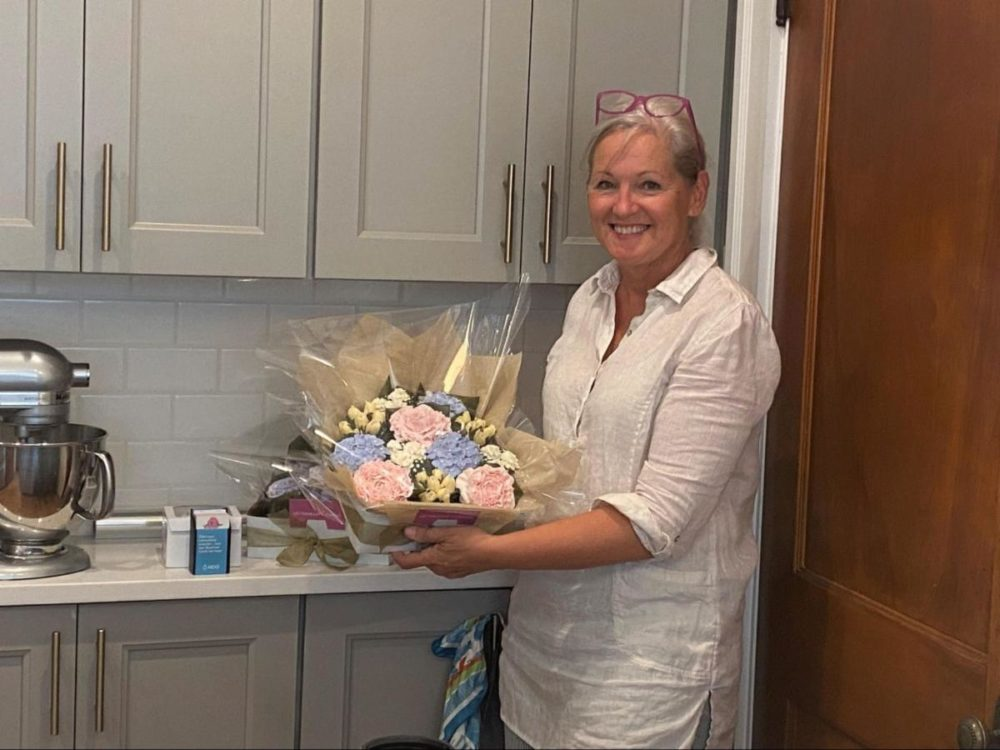 Lisa Mackin was the very first person with a permit to operate a residential kitchen in Boston. She makes cupcake flower bouquets as part of her company Boston Baked Blossoms. (Courtesy of the city of Boston)