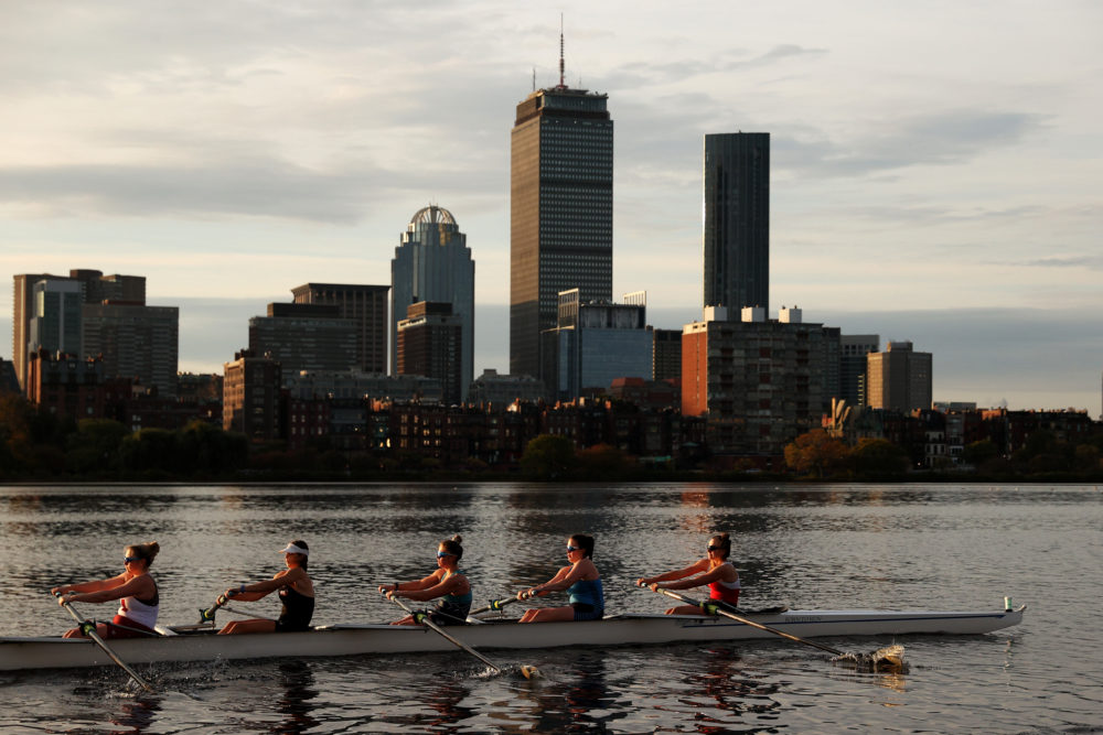 Members of the Radcliffe women's heavyweight crew team train on the Charles River on Oct. 21 in Cambridge, in preparation for the Head of the Charles Regatta. (Maddie Meyer/Getty Images)