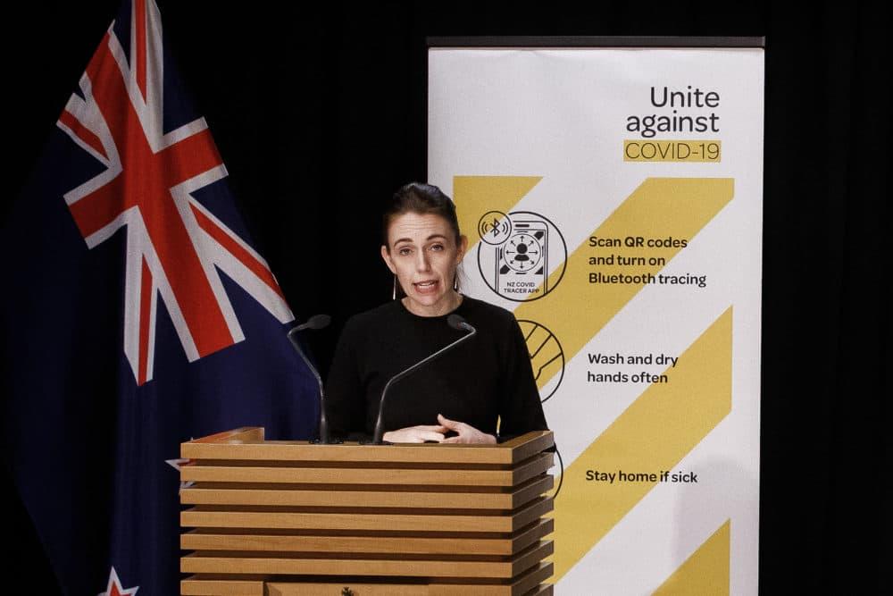 New Zealand Prime Minister Jacinda Ardern addresses a COVID-19 update press conference. (Robert Kitchin/Pool Photo via AP)