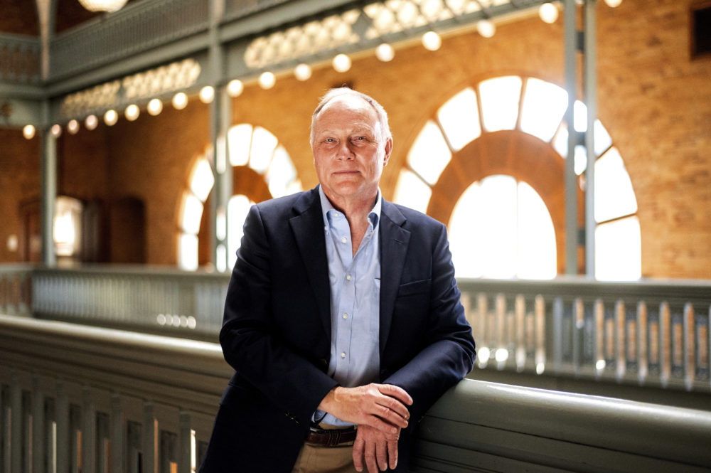 David Card, winner of the 2021 Nobel Prize in economics, stands for a portrait in Berkeley, Calif., on Monday, Oct. 11, 2021. (Noah Berger/AP)
