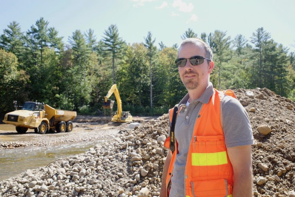 Gary Henry from the Ausable River Association oversees restoration work along the river in Jay. (Emily Russell)