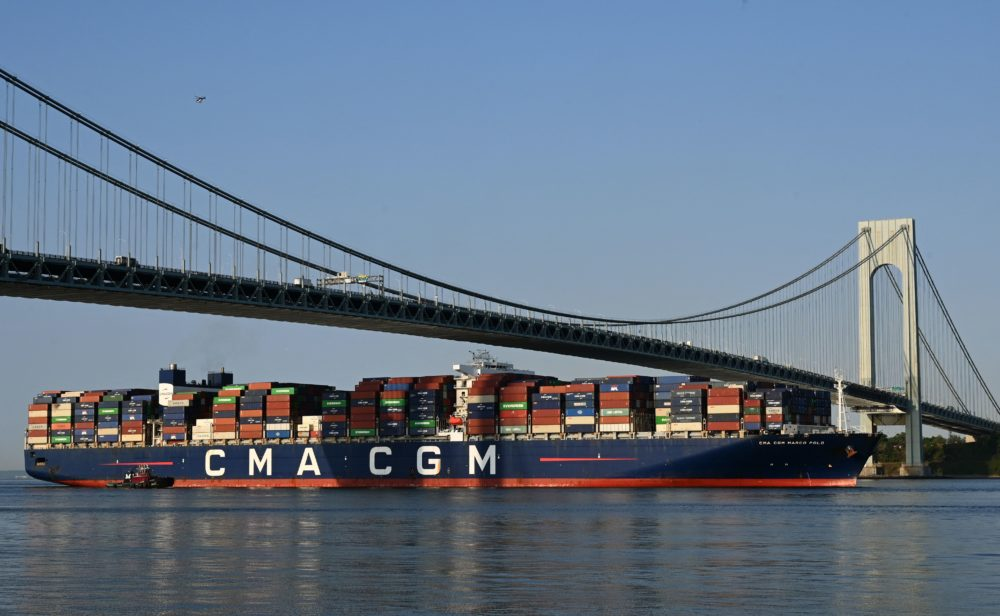 The CMA CGM Marco Polo,an ultra-large container vessel with a maximum capacity of 16,022 twenty-foot equivalent units, passes under the Verrazzano-Narrows Bridge. (TIMOTHY A. CLARY/AFP via Getty Images)