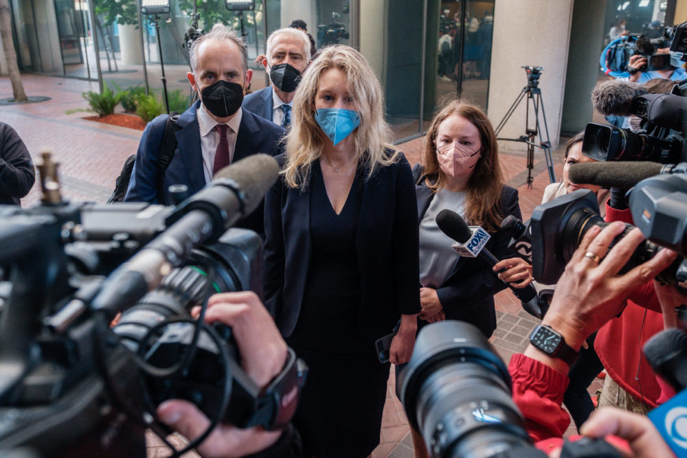 Elizabeth Holmes, the founder and former CEO of blood testing and life sciences company Theranos, arrives for the first day of jury selection in her fraud trial, outside Federal Court in San Jose, California, on Aug. 31, 2021. (Nick Otto/AFP/Getty Images)
