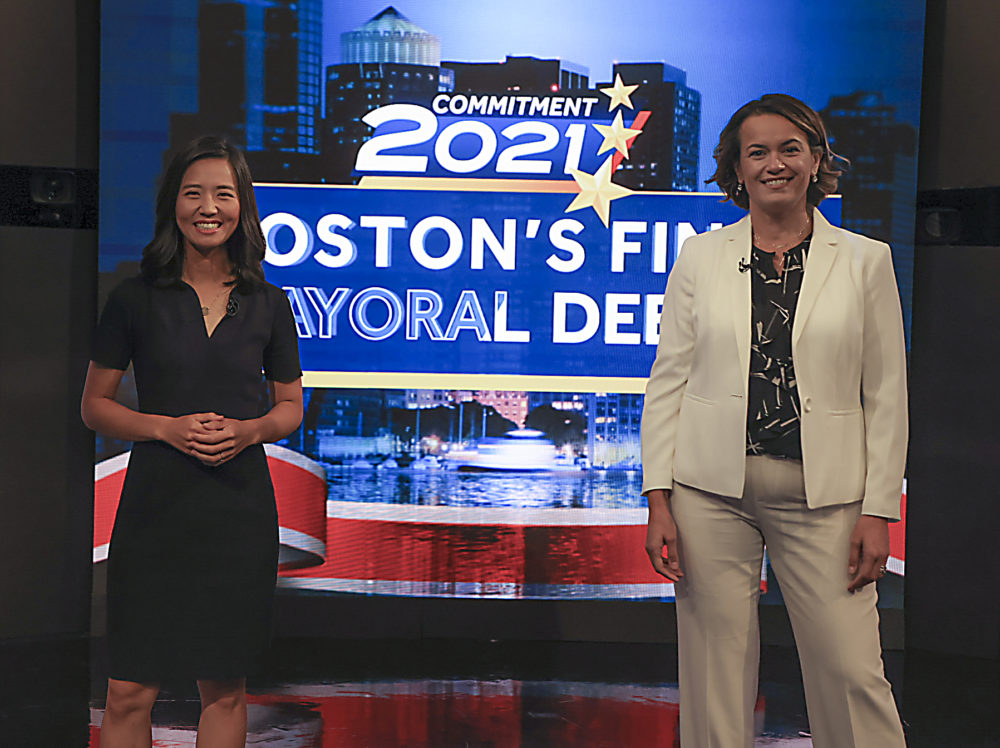 Boston City Councilors Annissa Essaibi George, right and Michelle Wu before their final live debate before the November 2 election for Boston Mayor at WCVB television studio in Needham on Oct. 25.  (Matthew J Lee/Boston Globe)