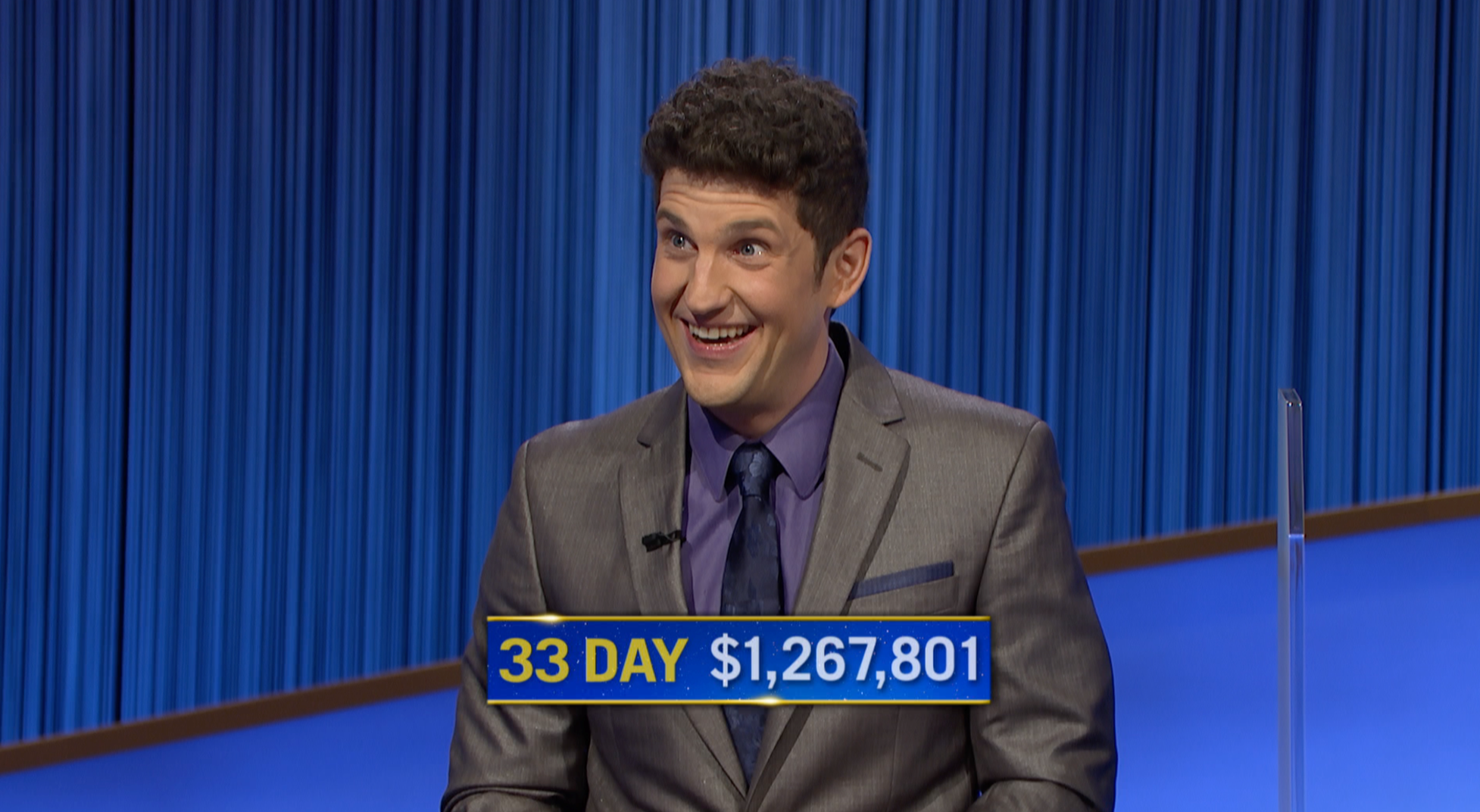 """Matt Amodio after his 33rd consecutive """"Jeopardy!"""" win. (Courtesy Jeopardy Productions, Inc.)"""